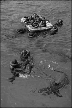 Sinking of the USS Indianapolis. It was greatest single loss of life at sea in the history of the U.S. Navy. 300 went down with the ship. The remaining 900 men faced exposure, dehydration, and shark attacks as they waited for assistance--only 316 survived.