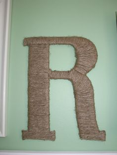 Jute wrapped letter - used only cardboard & jute. Easy project!