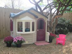 Step2 playhouse had brighter green roof and very faded red door and shutters.  I used Rust-oleum Painter's Touch Ultra Cover 2x spray paint in satin hunter green and satin aubergine. red doors, green roofs, children stuff, step 2 playhouse, backyard idea, garden stuff, bs board