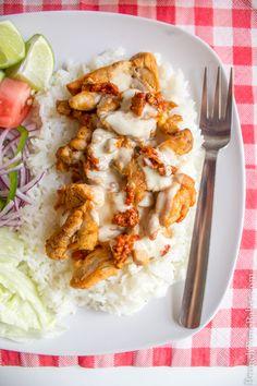 Mediterranean Chicken Gyro Platter with White Sauce