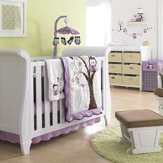 owl crib bedding | Girl Bedding! Baby's First® by Nemcor - Plum Owl 6-piece Crib Bedding ...