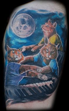 3 epic keyboard cats and a moon by Mez Love, via Flickr #cat #tattoo
