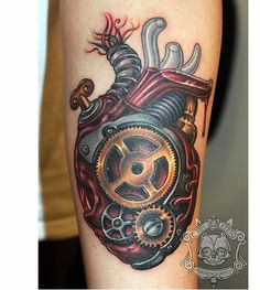 Steampunk heart by Tim Kern #InkeMagazine #heart #steampunk #gears #tattoo #tattoos #Inked #Ink