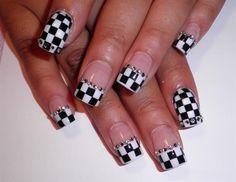 Checker French Nail Art. #nascar (found on NASCAR's Pinterest)