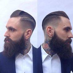 Ricki Hall with a fresh trim - full thick dark beard beards bearded man men mens' style tattoos tattooed hairstyle hair cut barber handsome #beardsforever