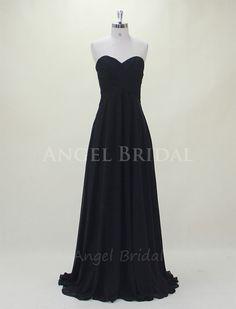 Black Bridesmaid DressLong Bridesmaid DressChiffon by AngelBridal, $109.00
