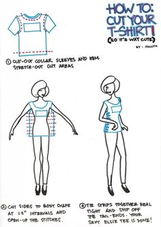 simple t-shirt cutting - A great way to make a favorite t-shirt that is over sized to something your size.