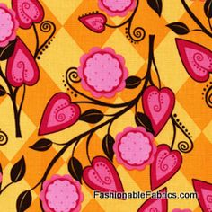Fabric... Andalucia Flora in Tangerine by Patty Young