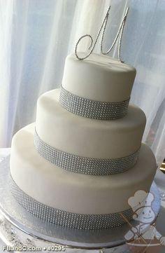 "Design W 0295 | Fondant Wedding Cake | 14""+10""+6"" | Serves 125 | Crystal Band | Custom Quote"