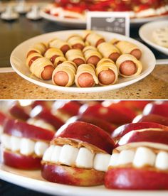 Halloween Party Foods; love those apple mouths with marshmallow teeth!