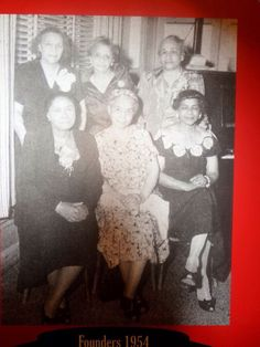 Six of the 22 Founders of Delta Sigma Theta Sorority, Inc. Back Row Standing L=>R Founders Jimmie Bugg Middleton, Eliza P.  Shippen, Vashti Turley Murphy. Seated L=>R Soror Founders Ethel Cuff Black, Edith Mott Young and ,  Founder Florence Letcher Toms circa 1958.