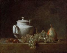 """Jean Siméon Chardin """"Still Life with Teapot, Grapes, Chestnuts, and a Pear."""" Museum of Fine Arts, Boston."""