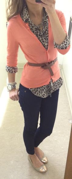 Coral cardigan with leopard button down, skinny jeans, and gold flats