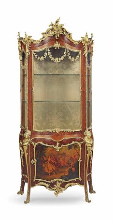 A FRENCH ORMOLU-MOUNTED KINGWOOD, ROSEWOOD AND VERNIS MARTIN BOMBE VITRINE -  LATE 19TH CENTURY