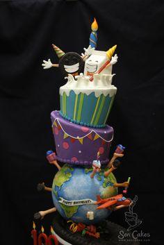 100th Birthday Cake. Love the globe.