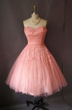 beautiful vintage pink party dress