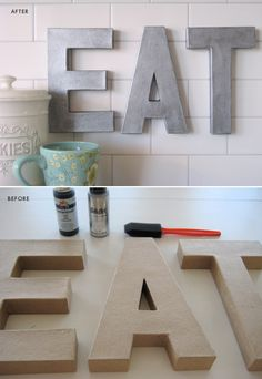 Zinc Inspired Letters - Paint used Black acrylic paint & Folk Art pearl paint on cardboard letters. Full Tutorial.