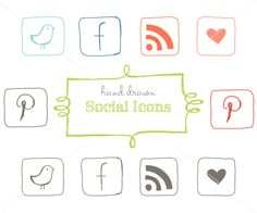 CLIP ART - Hand drawn social icons - for commercial and personal use. $8.00, via Etsy.