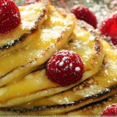 Lemon Ricotta Pancakes with Lemon Curd and Fresh Raspberries Recipe