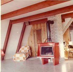 Lower floor A-frame with woodburner