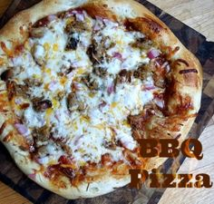 Tangy BBQ pizza make with a rotisserie chicken for a tangy BBQ Treat