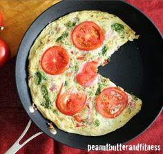 Ripped Recipes - Tomato, Basil & Spinach Egg White Frittata - Really easy breakfast to meal prep for the week!  I used turkey sausage in mine, but you could sub it with whatever breakfast meat you like.