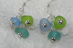 Sea glass earrings and sterling silver by seaglassboutique on Etsy