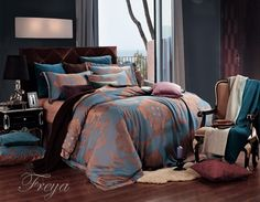 Freya Luxury Jacquard King Duvet Set New Discount Bedding by Dolce Mela