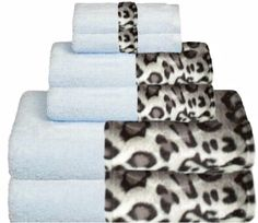 Snow Leopard & Soft Blue Bordering Africa Bath Towels  $11.00-$27.00 SALE $10.00-$24.00 baths, towel 11002700, bath towel, border africa, africa bath, leopards, snow leopard, sale, leopard bathroom