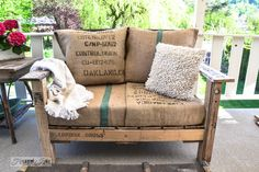 pallet projects, bench, coffee beans, burlap pillows, outdoor chairs