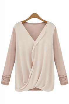 Contrast Color V-neck Chiffon Splicing Long Sleeve T-shirt