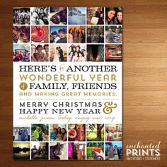 Instagram Christmas Card! Have a year's worth of Instagram (or any other) photos to share? Choose your favorites and showcase your year for your family & friends. Holiday Card by Enchanted Prints.
