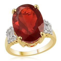 Liquidation Channel | 14K Yellow Gold Jalisco Fire Opal and Diamond Ring