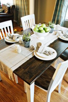 Love the dark stain on this table. Plus, the matching chairs. dining rooms, chair, dine room, kitchen tables, dining room tables, table redo, table runners, stain, dining tables