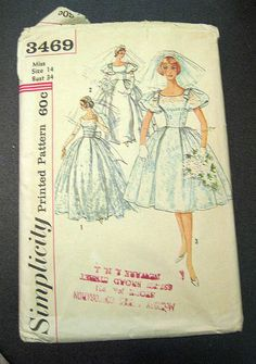 Fab Vintage 1950's Simplicity Bride Sewing Pattern Size Miss 14 UNCUT | eBay