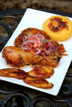 Fritada de gallina is a delicious and tender chicken dish prepared by cooking chicken in a sauce made with chicha or fermented corn drink, garlic, onion and cumin until the liquid is gone and the chicken is golden brown.