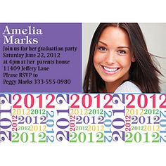 This colorful graduation invitation is fun! parti time, graduat parti