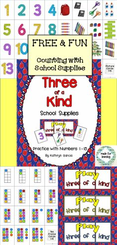 FREE fun with school supplies Counting 1-15