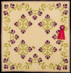 2013 Quilt Expo Quilt Contest, 2nd Place, Category 8, Wall Quilts, Machine Quilted Appliquéd: Purple Iris, Monica Troy, Lemont, Ill.