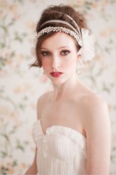 Wedding up do. Pearl head band