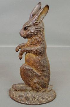'' Bradley & Hubbard cast iron seated rabbit doorstop, '' # Rabbit Art #