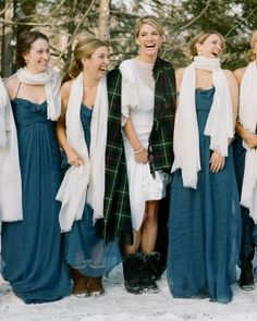 Beautiful winter bridesmaids