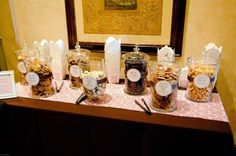 Cookie Buffet with Take-Away Containers | 42 Wedding Favors Your Guests Will Actually Want party favors, candy buffet, wedding favors, candi, cookie table, cooki buffet, cookie jars, wedding favours, parti