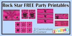 """Freebie pink rock star girl party printables from Spencerville Junction.  Includes thank you card, backstage passes, water bottle labels, candy bar wrappers and 2"""" circles.  All free from The Curriculum Corner Family!"""