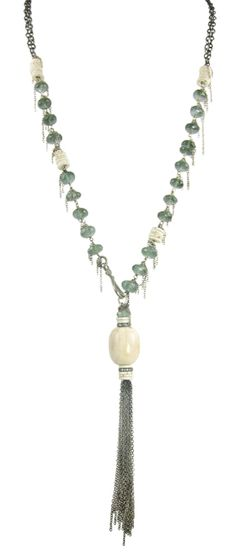 Fossilized Walrus Tusk, Diamonds, Moss Aquamarine & Ostrich Egg Disks with Oxidized Sterling by Nan Fusco Jewelry