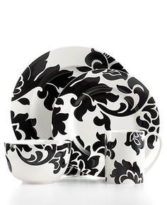 Martha Stewart Collection Dinnerware, Lisbon Black 4 Piece Place Setting - Casual Dinnerware - Dining & Entertaining - Macy's