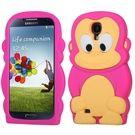 Samsung Galaxy S4 Silicone Skin Pink Monkey Case