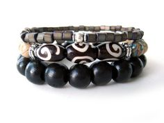 Beaded stretch bracelets with Kenya bone beads by Rock & Hardware Jewelry.