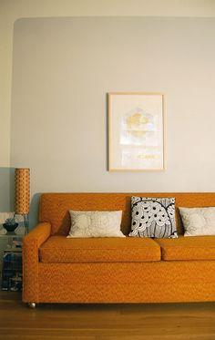 orang couch, autumn, vintage, oranges, paint, hous inspirationidea, couches, accent walls, pillows