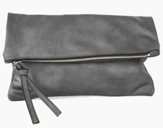 A beautifully constructed metallic black leather fold clutch  www.mooreaseal.com